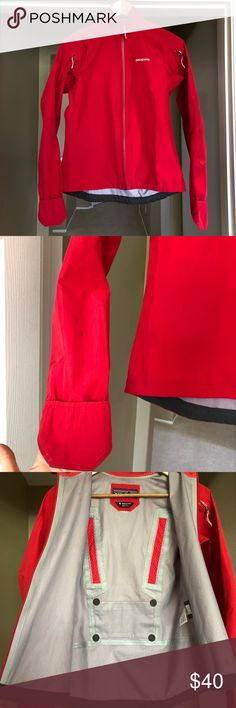 Patagonia Goretex rain coat women's size Small Red Women's Patagonia Goretex rain coat in size Small.  Striking bright red color will be sure to stand out!    VGUC with some marks as shown in pictures, including small black marks on right sleeve.    Fit is smaller in the torso than my other Patagonia pieces in size Small.  Sleeves are long with fold-over piece to keep your hands dry too.    There is one pocket in the back.  The zippers on arms are for ventilation.    Considering any offers… Gore Tex, Coats For Women, Patagonia Jacket, Red Color, Raincoat, Hands, Zippers, Bright, Leather Jacket