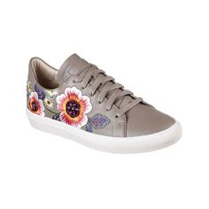 Women's Skechers Vaso Flor Sneaker ($65) ❤ liked on Polyvore featuring shoes, sneakers, casual, grey, grey flats, leather flats, laced up flats, lace up flats and floral flats