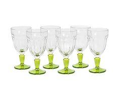Set di 6 calici in vetro Casablanca verde - h 16 cm