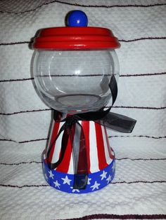 Hand made Patriotic candy jar-cute idea for summer on Etsy, $12.00