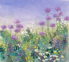 Herbaceous border with Alliums by Anne Kinniment Thread Painting, Fabric Painting, Fabric Art, Felt Embroidery, Free Machine Embroidery, Watercolor Quilt, Verge, Contemporary Embroidery, Landscape Quilts