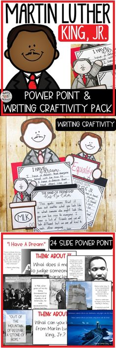 Martin Luther King, Jr. Power Point and Writing Craftivity Pack. Great Martin Luther King Jr Day Activity!