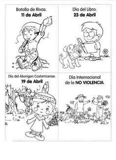 Efemérides abril Country Crafts, Costa Rica, Worksheets, Montessori, Preschool, Teacher, Comics, Paper, Countries