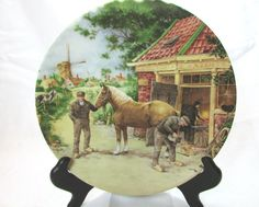 Vintage Handcrafted Royal Schwabap Man Shoeing Horse Decorative Plate C. 80's | Home & Garden, Home Décor, Decorative Plates & Bowls | eBay!