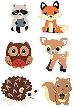 Natural Wood Painted Woodland Creatures Cutouts- 6 Count - Hedgehog, Squirrel, Owl, Deer, Fox and Raccoon Quilt Baby, Woodland Theme, Woodland Baby, Forest Animals, Woodland Animals, Baby Motiv, Animal Cutouts, Wood Cutouts, Woodland Creatures