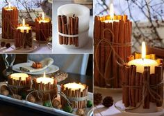 Arrangement of candles for decorating, lighting and scenting Christmas dinner ... Cinnamon Tea Light + little ribbon or cord