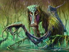 Bagiennik was the name of water demons in the Slavic mythology. They were akin to the bathhouse spirit Bannik. They were subject to Wąda, lady of the lakes and the shallow streams, also known as the Queen of the Underwater Lawns.