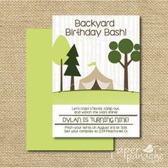 Backyard CampOut Birthday Party Invitation by PaperPanacheDesigns