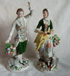 Pair Vintage German  Porcelain Figurines