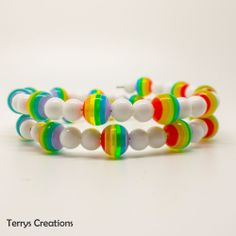 Rainbow & White Bead 2 Row Memory Wire Wrap Around Bracelet  Pride Unisex W139