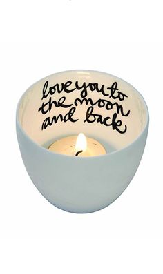 love you to the moon tea light holder