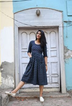 Navy Blue Ikat Pocket Dress - A fun pocket outfit made in handwoven ikat. With a pattern play of ikat on yoke this ikat outfit is ideal for any day. Kalamkari Dresses, Ikkat Dresses, Long Gown Dress, Frock Dress, Saree Dress, Casual Frocks, Casual Dresses, Girls Dresses, Prom Dresses