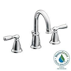 Buy the Moen Chrome Direct. Shop for the Moen Chrome Double Handle Widespread Bathroom Faucet from the Banbury Collection (Valve Included) and save. Roman Tub Faucets, Bathroom Sink Faucets, Bathroom Fixtures, Bathroom Chrome, Bathroom Grey, Concrete Bathroom, White Bathrooms, Bathroom Plumbing, Luxury Bathrooms