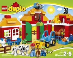 Includes 2 LEGO DUPLO figures: a farmer and child; Also includes a horse, calf, cow, chicken and a cat Features a barn with opening doors and a winch to lift the hay, farmhouse with redesigned roof, stable, buildable DUPLO tractor and a fence Farmhouse features opening door and window, flower-decorated DUPLO brick and 2 chairs; Stable features an opening window, a swiveling feeding trough.  toys4mykids.com