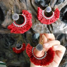 Pretty Fluff Cotton and Nice Pom poms with Brass Earrings, Jewelry Handmade