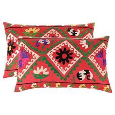 Set /2 Suzani Hand Embroidered Pillows #huntersalley