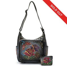 Anuschka Hand-Painted Leather Organizer Hobo Bag w/ Coin Pouch