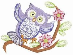 Owl Branch 7 - 3 Sizes!   Birds and Birdhouses   Machine Embroidery Designs   SWAKembroidery.com Ace Points Embroidery