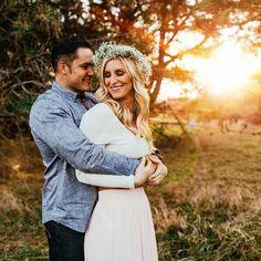 Nebraska sunset engagement session. Flower crown styled shoot. Brett Brooner Photography.