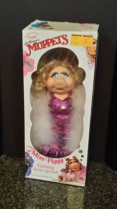"Vintage Miss Piggy Muppets Fantasy dress up doll MiB 12"" 1989"