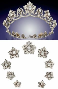 DIAMOND TIARA of 9 old-cut diamond graduating flowerhead clusters centred by old-cut pear cushion shape diamond collet highlights, the central principal very light pink diamond interspersed by ten similarly-set stylised cusp motifs of ribbon scroll design, raised on an undulating diamond line frame, mounted in silver and gold, circa 1850, each flowerhead cluster detachable to form a brooch. Originally owned by the Marchioness of Conyngham.