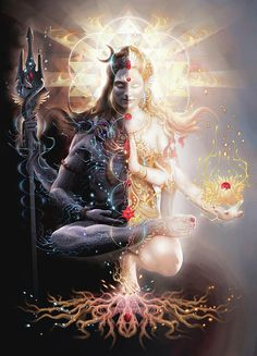 """Shiva, meaning """"The Auspicious One,"""" is regarded as the """"Destroyer"""" within the Hindu Trinity and is closely associated with Kali, his consort. The perfect balance of masculine and feminine. Shiva and Parvati. Shiva and Shakti Shiva Shakti, Rudra Shiva, Kali Shiva, Wicca, Psy Art, Indian Gods, Indian Art, Visionary Art, Tantra"""