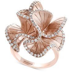 Pave Rose by Effy Diamond Flower Ring (9/10 ct. t.w.) in 14k Rose Gold (23.681.000 IDR) ❤ liked on Polyvore featuring jewelry, rings, rose gold, 14k ring, rose gold diamond rings, rose diamond ring, rose gold ring and round diamond ring