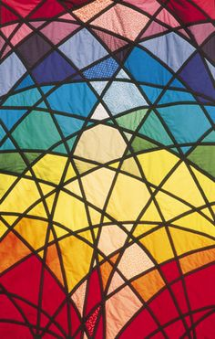 Beekeeper quilt colour inspiration. Gail Lawther stained glass quilt.