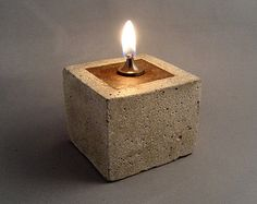RUSTIC OIL LAMP - Cowboy Zen Style Oil Lamp in Concrete and Iron