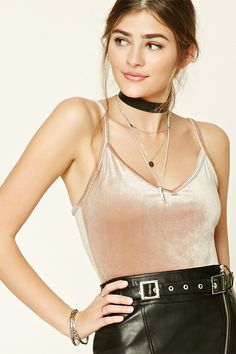 Velvet V-Neck Crop Top | Forever 21 - 2000216466