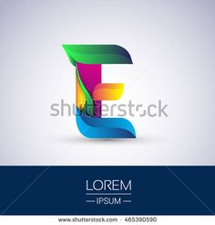 E letter colorful logo, Vector design template elements for your application or…