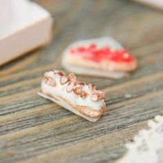 Cream eclairs. Realistic dollhouse miniature food 1:12