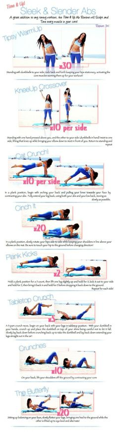 Tone it up! via this Sleek and Slender Abs exercise. A great addition to any toning workout. This exercise will . Fitness Workouts, Fitness Motivation, Toning Workouts, At Home Workouts, Daily Workouts, Fitness Quotes, Workout Quotes, Ab Exercises, Stomach Exercises