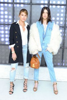 Hailey Baldwin and Bella Hadid style light denim with white, navy and neutral accents to keep things spring-ready: