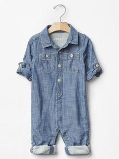 Chambray roll-up one-piece