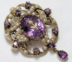 Victorian 14k Amethyst Seed Pearl Pin/Pendant with twisted 10k chain