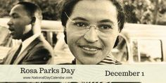 Rosa Parks Day honors an American Civil Rights hero. On either February 4 or December the holiday recognizes the civil rights leader Rosa Parks. Liberation Day, National Day Calendar, National Days, National Holidays, World Aids Day, Civil Rights Leaders, What Day Is It, Rosa Parks, Famous Celebrities