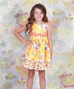 Take a look at this Yellow Floral Bow Dress - Toddler & Girls by Jelly the Pug on #zulily today!