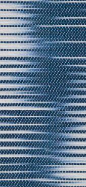 "BLUE WHITE SHIFT Ethel Stein, mercerized cotton, damask, ikat weft , 36"" x 35"", 91.5cm x 89cm, 2009,"