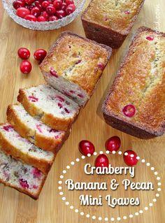 Cranberry Banana and Pecan Mini Loaves