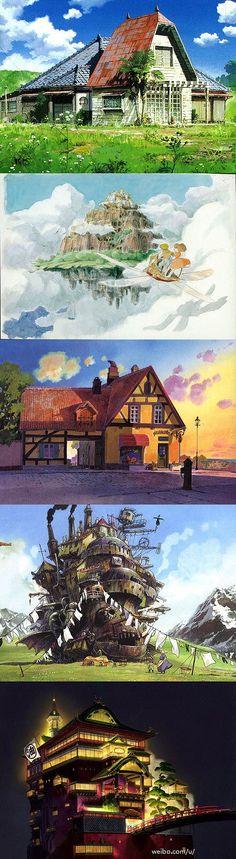 「宫崎骏作品中最令人向往的地方」1.龙猫的家《龙猫》 2.天空之城《天空之城》 3.欧思娜太太的面包房《魔女宅急便》 4.移动城堡《哈尔的移动城堡》 5.油屋《千与千寻》。你最想去哪里?