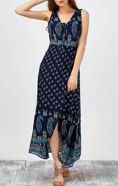 Paisley Print Maxi High Slit Beach Dress