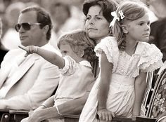 King Carl Gustaf, Queen Silvia and two of their three children; Prince Carl Philip and Princess Madeleine