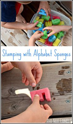 Fine motor water sensory play using alphabet sponges from And Next Comes L you can do this activity with any sponges, not just letters! Phonics Activities, Alphabet Activities, Creative Activities, Craft Activities For Kids, Toddler Activities, Toddler Fun, Toddler Preschool, Learning Letters, Writing