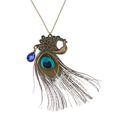 USD $ 1.89 - European And American Vintage Peacock Feather Necklace, Free Shipping On All Gadgets!