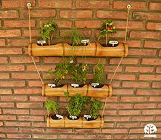 Macetas de bamb con verduras ideas para el jard n ideas for Jardin vertical mercadolibre