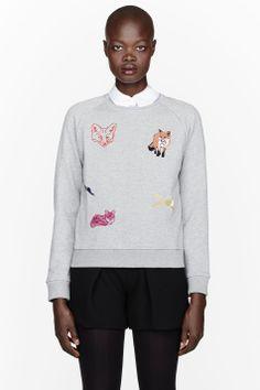 MAISON KITSUNE Heather grey embroidered foxes Childish Sweater