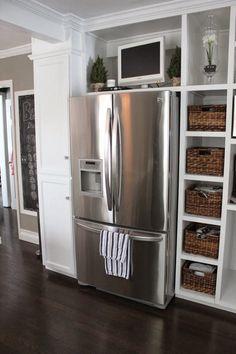 Kitchen Refrigerator Cabinet -the Fat Hydrangea Progress On the Kitchen Built Ins Kitchen Built Ins, Tv In Kitchen, Small Space Kitchen, Updated Kitchen, Kitchen Redo, Kitchen Pantry, Kitchen Dining, Kitchen Cabinets, Kitchen Ideas