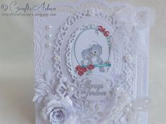 Wedding / Anniversary Card, hand coloured with Spectrum Noir pens - Wee Stamps Sylvia Zet Swing Birds digi stamp, Spellbinders Dies, handmade flowers