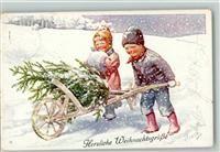 Feiertag, K. BKW Serie 3006-5 Weihnachten - Kinder holen in der Schubkarre